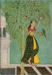 'Woman With A Parrot' Deccani Art Victoria & Albert Museum Repro Postcard D50