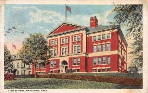 High School, Marlboro, Massachusetts, Early Postcard, Used in 1916