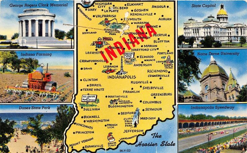 Indiana State Map Postcard~6 Views-Indy 500-Notre Dame-Farmer ... on washington state map postcard, indiana state park campground maps, ohio state map postcard, indiana united states map,