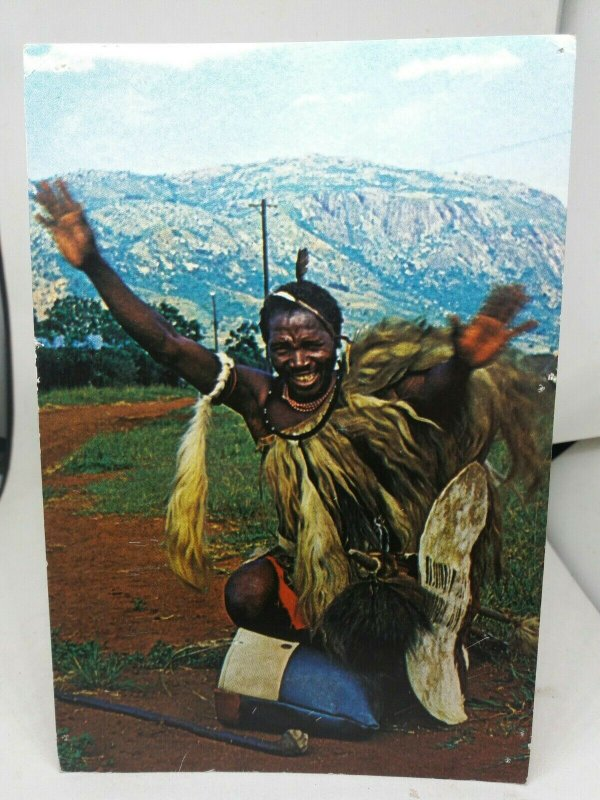 Vintage Postcard Swaziland a Cheerful Greeting from a Happy Swazi 1960s