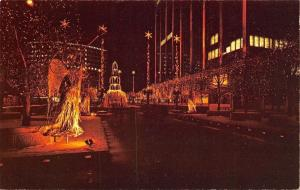 Hartford Connecticut~Constitution Plaza~Christmas Night Lights~Fountain~1950s PC