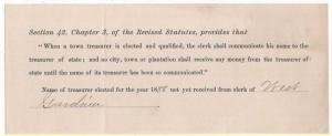 1888 Request for Name of Town Treasurer of West Gardiner,...