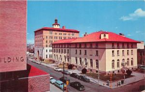 Albuquerque New Mexico~Post Office & Federal Building~Classic Cars in Street~'50