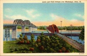 Undated Unused Postcard Lewis and Clark Bridges over Mississippi Alton IL