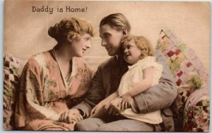 1910s WWI Military Postcard Daddy is Home! Soldier Family TUCK'S Hand-Colored