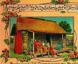 My Old Kentucky Home Song Lyrics Vintage Linen Postcard UNP Family on Porch