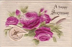 Birthday Greetings Wheelbarrow Full Of Red Roses Embossed
