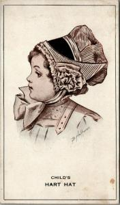 Sugarcreek Ohio~Hart Hats~MM Putt Millinery~Sunbonnet Girl~1909 Adv Postcard