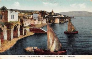 Tiberiade Tiberius Israel View from the Lake Sailing Vintage Postcard JD228204