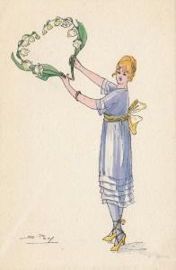 S PAVY ; Art Deco Female Portrait, 1910s #4