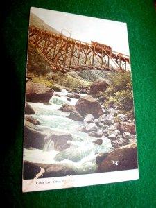 C.1900-10 Japan Cable Car on Bridge of Gorge River Stream Meiji Era ?