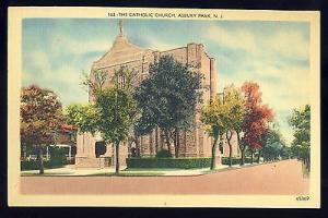 Nice Asbury Park, New Jersey/NJ Postcard, The Catholic Church