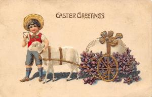 Easter~Little Farm Boy~Pet Lamb Pulls Egg Cart~Violets~Gold Leaf Emboss~Germany