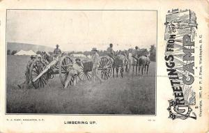 Washington DC Camp Greeting Military Limbering Antique Postcard K103201