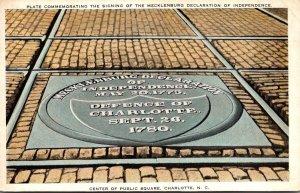 North Carolina Charlotte Public Square Plate Commemorating Signing Of Mecklen...