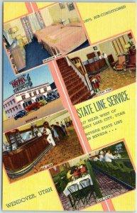 Wendover, NV Postcard STATE LINE SERVICE Hotel Bar Café Roadside Linen c1950s