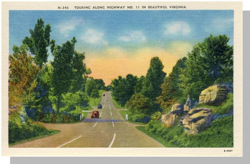 Beautiful Virginia/VA Postcard, Highway No 11, Near Mint!