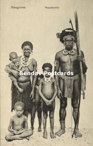 german new guinea, Armed Native Papua Male, Nude Wife, Children (1910s) Mission