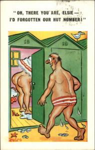 Husband & Wife at Beach Woman Nude in Bath House Comic Postcard