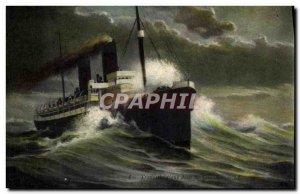 Old Postcard Boat Transatlantic Ship in storm