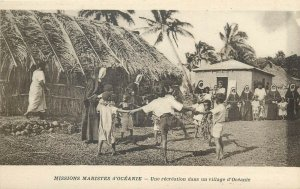 A recreation in a village in Oceania Missions Maristes d`Oceanie ethnic life