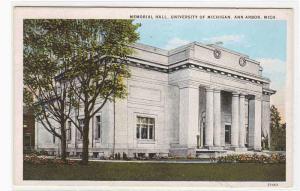 Memorial Hall University Michigan Ann Arbor MI 1920s postcard
