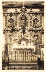 RPPC Mission San Juan Capistrano CA Serra Chapel Interior 1940s Vintage Postcard