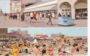 ATLANTIC CITY, New Jersey, 1939-60s; 2-Views, Boardwalk and Beach