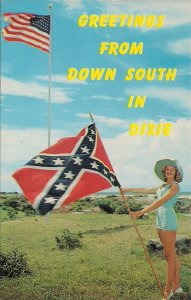CSA Pin Up Sexy Girl, Confederate Battle Flag, US Flag, Greetings from Dixie