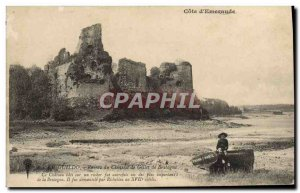 Old Postcard From The Ruins Guildo Chateau De Gilles De Bretagne Children