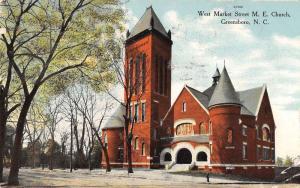Greensboro North Carolina view of W Market St M.E. Church antique pc Z21467