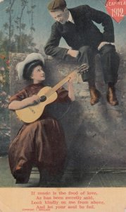 Leap-Year 1912, Woman plays guitar for interested man, PU-1912