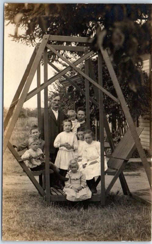 Vintage RPPC Real Photo Postcard Family w/ 7 Children on Yard Swing Oregon 1910s