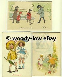 su1517 - Young Children , Artist Drawn - 3 postcards