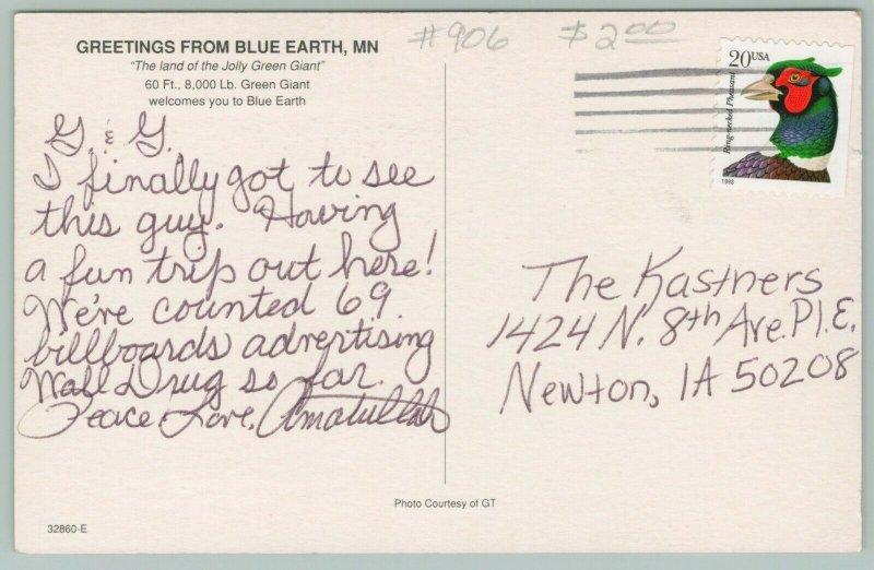 Blue Earth Minnesota~Welcome Statue~Jolly Green Giant~Postcard~1960s