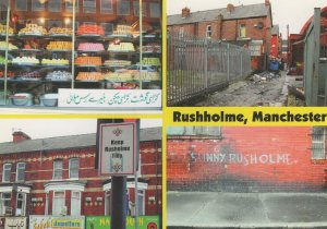 Rushholme Manchester Graffiti Indian Markets Disaster Postcard