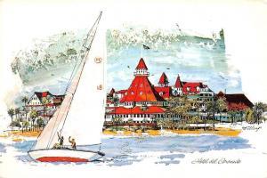 USA Hotel del Goronado Southern California Boat Bateau Panorama