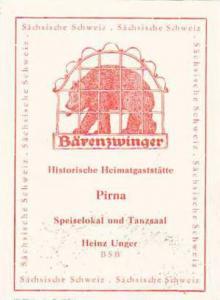 GERMANY PIRNA HEIMATGASTSTAETTE BAERENZWINGER VINTAGE LUGGAGE LABEL