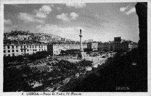 Portugal Lisboa Praca D. Pedro IV Rossio Square Cars Statue Monument Postcard