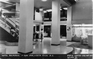 San Jose Costa Rica Hotel Balmoral Interior Real Photo Antique Postcard K30578