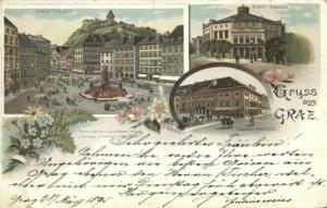 austria, GRAZ, Multiview, Theatre, Hauptplatz Multiview Litho (1895)
