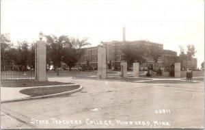 Moorhead Minnesota~State Teachers College Gated Entrance~Mail Dropbox~1940s RPPC