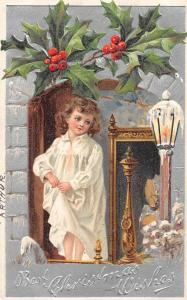 Christmas Greetings Girl in Nightgown Antique Postcard J75690