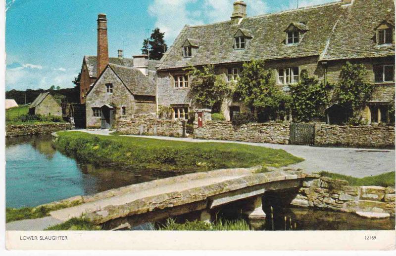 Postcard Gloucestershire Lower Slaughter Jarrold Cotman-Color