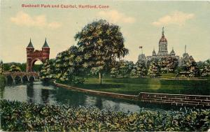 Hartford Connecticut~Stone Wall~Bushnell Park Arch and Capitol~1910
