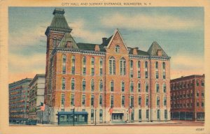 Rochester NY, New York - City Hall - Note Subway Entrance - Linen