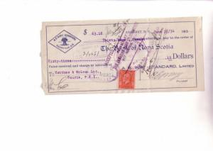 Custom Cheque from AE Wry Standard, Sackville New Brunswick, Canada