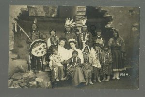 Colorado Springs CO RPPC '10 INDIANS Posing RUINS Indian PAINTED DRUM T.H. Routh