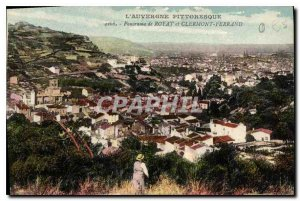Old Postcard The scenic Panorama Auvergne Royat and Clermont Ferrand