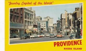 PROVIDENCE, Rhode Island, 40-60s;  Weybosset Street,store fronts, showing